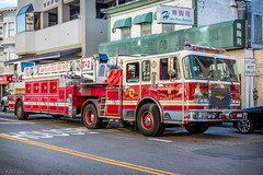 Fire truck (kaifr) Tags: ladder red sanfrancisco california unitedstates us san francisco fire department truck sanfranciscofiredepartment firetruck outdoors street