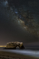 Bird Rock & Milky Way (mikeSF_) Tags: ocean california santa longexposure panorama santacruz seascape bird beach rock night way stars landscape waves nightscape natural state pacific pentax pano bridges panoramic cruz limited milky constellations k5 galazy fa31 wwwmikeoriazenfoliocom mikeoria wwwmikeoriacom