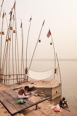 Ganges, Varanasi (Marji Lang Photography) Tags: travel people india men composition river reading three sticks indian scene bamboo varanasi dailylife moment hindu oldtown kashi oldcity ganga drying activities dhoti ganges ghats banaras benares holycity uttarpradesh travelphotography republicofindia ordinarylife bamboosticks  indianpeople beautyoflife ef247028l indiansubcontinent godaulia bnars gowdolia  holyganges    canoneos5dmarkii gaudolia bhrat bhratgaarjya  vras travelanddocumentaryphotography  k marjilang oldvaranasi
