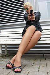 Nicole 17 (The Booted Cat) Tags: woman sexy feet girl sunglasses leather office high toes gun legs blouse business weapon blonde heels miniskirt lighheels