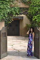 Chevy Cherrelle at the Albuquerque Hotel (Mitch Tillison Photography) Tags: southwest sexy beautiful fashion print model nikon colorful outdoor albuquerque courtyard d750 greenery brunette gown elegant tamron 70200 f28 poised springtime alluring strobe allure exceptional godox mitchtillisonphotography wistroad360