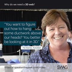 You want to figure out how to hang some ductwork above our heads. You better be looking at it in 3D. (SWAG - Speak With A Geek) Tags: 3d technology tech quote meme swag threedimensional 3dweb speakwithageek autodeskforgedevcon 3dwebfest