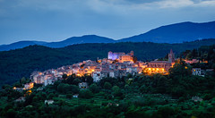 "Callian at Blue Hour, ""perched village"" of Provence (andyc246) Tags: sunset travel rollinghills summer landscape scenic postcardshot provence france callian bluehour twilight dusk lightingup paysage perchedvillage evening beauty scenery villagesperches montauroux terraces vineyards houses church medievalcastle cypresses blue sony a7ii zeiss a7mii alphaa7mii zeissplanar1485 night light house"