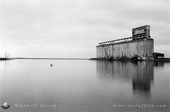 Cargill Pool Grain Elevator from South End Marina - Buffalo, NY (NFE_0055) (masinka) Tags: lake erie cargill grain elevator buffalo ny newyork outer harbor south end marina water buffalove 716 architecture film analog photography ilford delta 100 nikon fe reflection etbtsy timelessbuffalo