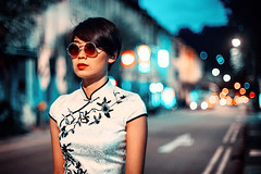 Evening Walk (Jon Siegel) Tags: nikon nikkor d810 50mm 12 nikon50mmf12 woman girl model modeling beauty retro vintage fashion style cheongsam wongkarwai christopherdoyle sunglasses bokeh night evening road street urban chinese singapore singaporean