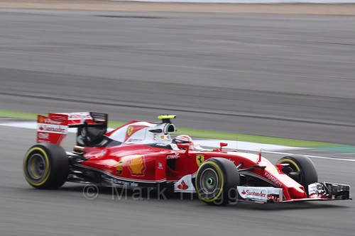Kimi Raikkonen in his Ferrari in Free Practice 2 during the 2016 British Grand Prix