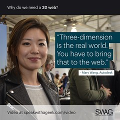 Three-dimension is the real world. You have to bring that to the web. (SWAG - Speak With A Geek) Tags: 3d technology tech quote meme swag threedimensional 3dweb speakwithageek autodeskforgedevcon 3dwebfest
