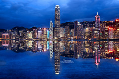 (mikemikecat) Tags: china street house west reflection building night lumix hongkong mirror evening twilight colorful waterfront harbour geometry cityscapes bank olympus victoria hong kong promenade housing nightview   kowloon   hdr       of ifchk      olympusomd