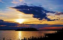 Sunset in July (Astotin Lake) (krystyna_piw) Tags: canada alberta elkislandnationalpark clouds blackcloud colorful island july summer vacation travel weather silhouette silhouettes tree trees evening