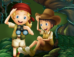 A jungle with a boy and a girl (fatimadesigns88) Tags: illustration drawing image graphic kids children boy girl male female man woman lady gentleman young little human people forest jungle woods telescope hat scarf uniform tree big algae plants vine leaves humid moisture moist dark pic picture cartoon clipart scene landscape scenery nature vector