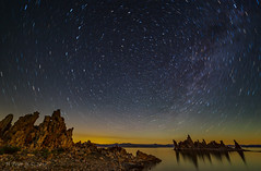 Dancing stars over Mono Lake (ScorpioOnSUP) Tags: california nightphotography sky lake water night clouds stars landscape rocks salt tranquility calm astrophotography nightsky battleship monolake startrails landscapephotography southtufa themilkyway mountainline