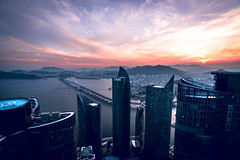 Visiting the Neighbors... (Todd Danger Farr) Tags: zenith busan korea marinecity sunset rooftopping ocean sea bay skyscrapper