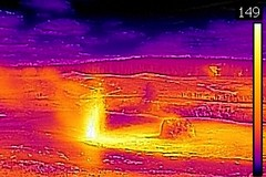 Thermal image of Beehive's Indicator Geyser eruption (4:45-5:07 PM, 3 June 2016) (James St. John) Tags: beehives indicator geyser erupt erupts eruption eruptions erupting hill group upper basin yelllowstone hotspot volcano wyoming thermal image photo temperature