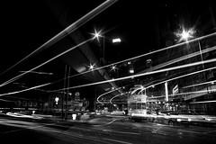 Light Dance (Wilson Au   ) Tags: lighttrails night city tram hongkongtramways slowshutter longexposure monochrome blackandwhite canon eos5dmarkiii ef2485mmf3545usm hongkong sheungwan traffic