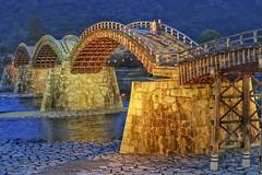 Kintaikyo XI (Douguerreotype) Tags: blue bridge dark river water iwakuni lights architecture arch kintaikyo night japan people