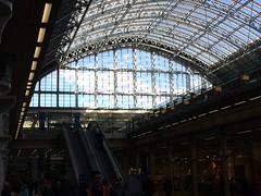 Glass (My photos live here) Tags: london st pancras station eurostar rail railway train camden roof glass escalator england capital city light day sky