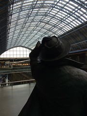 Looking at the Roof (My photos live here) Tags: london st pancras station eurostar rail railway platform statue sir john betjemin hat i phone 5s roof windows camden