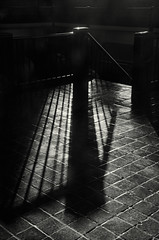 Railing Shadows (JeffStewartPhotos) Tags: blackandwhite bw toronto ontario canada water stairs blackwhite shadows railing toned treatment longshadows pumpingstation balusters rcharriswatertreatmentplant thepalaceofpurification walkingwithdavidw