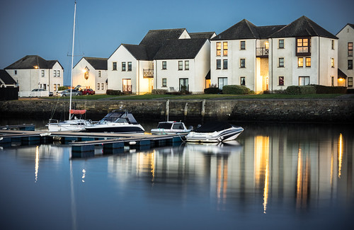 houses sunset boats harbour tayport