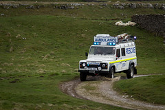 Cave Rescue Organisation (MikeD1774) Tags: road blue light people rescue white water grass lights mud yorkshire rover off caves help land cave ropes emergency scar services dales defender 999 organisation livery ribblehead landacape