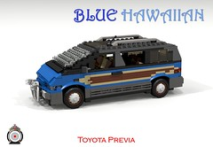 LUGNuts Custom Blue Hawaiian Previa Surf van (lego911) Tags: auto blue beach car japan modern japanese model sand rat surf lego render board egg totem smell hawaiian toyota rod 102 van challenge 1990s 1990 cad lugnuts povray mpv ratrod moc previa ldd tarago miniland foitsop lego911 ismellamodernrat