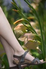 Hanging Out (swong95765) Tags: flowers sexy feet nature beauty shoes toes pretty legs sandals dangling