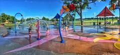 Bixby splash pad park (Pejasar) Tags: color panoramic pano play grandkids water children splashpad bixby