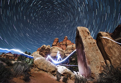 Raiden's Fury - Chesler Park 1 (rodeonexis - photography) Tags: adventure explore chesler park cp1 camp backpack canyonlands national utah desert amazing icon iconic scenic southwest raiden headlamp long exposure star trails stars night sky astrophotography
