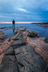 Standing by the sea (Muppian) Tags: water stone sky clouds stersjn sea rdhll