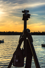 Really works for me (docoverachiever) Tags: camera sunset lake water silhouette bag logo object tripod gear equipment manmade gitzo reallyrightstuff 16116