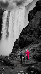 The Power of.... (M.D.Lord) Tags: travel pink summer people blackandwhite bw david water rock canon outdoors island eos blackwhite waterfall iceland spray nd volcanicisland volcanic canoneos 2016 ndfilter skogafoss 70d photographyoutdoor davidlord