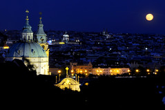 Full moon over Prague (Vt Hassan) Tags: europe czech republic czechia prague cathedral st nicholas night shot full moon