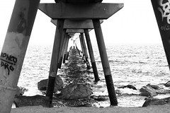 Infinity (HellaTheViking) Tags: infinity pont del petroli badalona barcelona catalonia spain cool picoftheday black white photography sea maritime beach sunset bridge waves water mediterranean