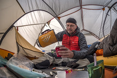 Time to make that first cup of coffee (speedcenter2001) Tags: california sierranevada sierra highsierra mountains anseladamswilderness hiking backpacking backcountry adventure nikon16mmf35ai fisheye tent bigagnes copperspur jetboil sumo camp