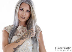 Emily Victoria - 01 (Lunar Caustic Photography) Tags: model blonde female woman dyedhair silver fashion dress tattoos henna