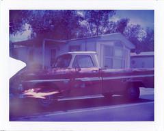 Santa Rosa, NM (moominsean) Tags: polaroid 190 instant type681 expired062000 newmexico santarosa southwest pickup truck trailer