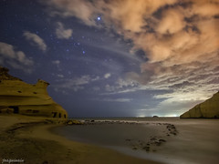 Playa de los Cocedores (joaquinain) Tags: sunset seascape beach clouds marina stars landscape marine rocks nightly playa paisaje olympus nubes estrellas puesta nocturnas zuiko rocas mediterrneo omd em1 samyang fsuro