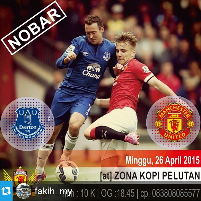 Lokasi Nobar: Info @fakih_my Nobar BPL Game Week 34 with United Indonesia #Pemalang: Everton vs Man. United | Minggu, 26 April 2015 | O.G: 18.45 WIB / K.O: 19.30 WIB | At Zona Kopi, Pelutan | Htm 10rb (snack & drink) | DC: All About MUFC/UI/UIPml. More in