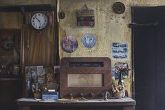 World service radio (andre govia.) Tags: urban abandoned clock kitchen radio vintage dead closed decay cottage creepy urbanexploration derelict clutter decayed decaying urbex decayedbuildings urbanexplorers urbexdecay andregovia