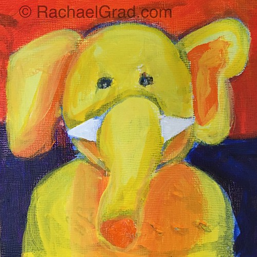elephant painting in primary colours acrylic on panel i ve been