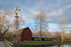 Golden hour @ Bonneyville Mill (tquist24) Tags: trees sunset sky tree windmill clouds barn geotagged evening nikon indiana goldenhour bonneyvillemillcountypark nikond5300