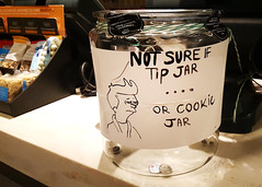 Futurama Meme in real life (Exile on Ontario St) Tags: futurama meme fry tipjar tips montreal secondcup caf notsureif coffeeshop squinting eyes employees workers worker work travail emploi salaire minimumwage wage cafs coffee shop caffe tip jar philipjfry montral downtown counter comptoir cash coins quarters quarter canada money jarre cookiejar cookie cookies notsure tipping pourboire pourboires irl memes