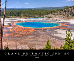 Grand Prismatic (Thomas  Johnson Photography) Tags: outside outdoors canon digtial 40d scenic wyoming yellowstonenationalpark nationalpark yellowstone 2016 thomasjohnsonphotography thomasjohnsonphotography blue yellow spring hot boiling amazing colorful bacteria steam grandprismaticspring prismaticspring natural volcanic volcano