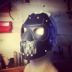 Still working on this luchador mask. #Cyberpunk #CyberGoth #postapocalyptic #postapocalypse #steampunk #steampunkmask #leathermask #handmade #LARP #dieselpunk #leather #Darkart #costume #luchador #costume #respirator (tovlade) Tags: black girl face make up leather punk hand mask goth goggles made doctor cyber cybergoth cyberpunk plague larp steampunk postapocalyptic postapocalypse dieselpunk