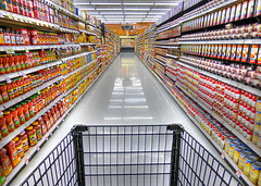 Shopping on Aisle Eight (arbyreed) Tags: arbyreed perspective pointofview grocery oremutah utah soup salsa vanishingpoint retail store harmons harmonsgroceryorem utahcountyutah shoppingcart