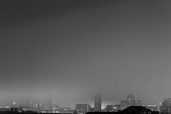 Cardiff City Skyline (Geraint Rowland Photography) Tags: blackandwhitephotography architecture wales buildingsinwales adorenoir blancoynegro bw blackandwhitephotographybygeraintrowland canon mist mood moodandatmosphereinphotography geraintrowlandphotography lights longexposure cardiff uk