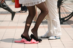hot, humid day in Beijing in June (christbt) Tags: zapatos shoes sandals hole tights blackandwhite change heels man woman feet pies china beijing pekin