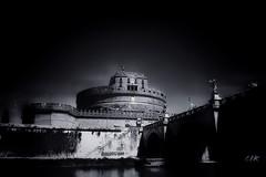 Perspective: Castel Sant'Angelo in B&W (Bebo_cik) Tags: dark blackandwhite black rome roma castle castello historical building history monochrome