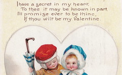 """ELLEN CLAPSADDLE CUTE VALENTINE KIDS -I HAVE A SECRET IN MY HEARD - LOVE IS IN THE AIR International Art Card Series No 2744 Postmarked 19122 (UpNorth Memories - Donald (Don) Harrison) Tags: vintage antique postcard rppc """"don harrison"""" """"upnorth memories"""" upnorth memories upnorthmemories michigan history heritage travel tourism """"michigan roadside restaurants cafes motels hotels """"tourist stops"""" """"travel trailer parks"""" campgrounds cottages cabins """"roadside entertainment"""" """"natural wonders"""" attractions usa puremichigan"""