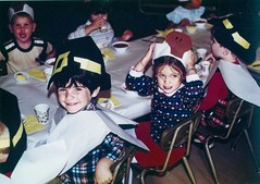 Bert and Johanna at the Thanksgiving Luncheon at School - c1980 (kimstrezz) Tags: 1980 bert johannaluckey thanksgiving thanksgivingc1980
